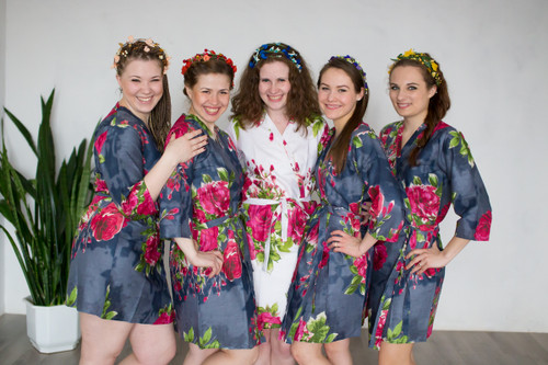 Gray Large Fuchsia Floral Blossoms Robes for bridesmaids | Getting Ready Bridal Robes