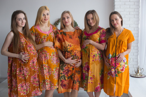 Mustard Floral Birthing Gowns