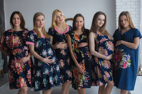 Navy Blue Floral Birthing Gowns