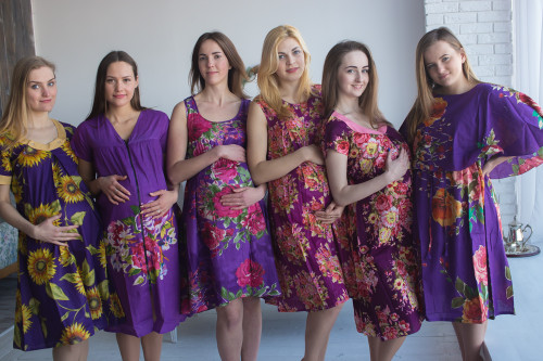 Purple Floral Birthing Gowns