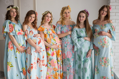 Mommies in Light Blue Floral Maxi Dresses