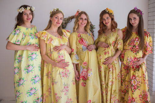 Mommies in Light Yellow Maxi Dresses