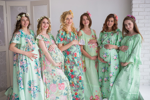 Mommies in Mint Maxi Dresses