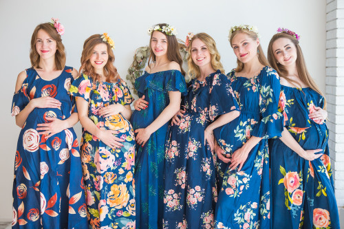 Mommies in Navy Blue Floral Maxi Dresses