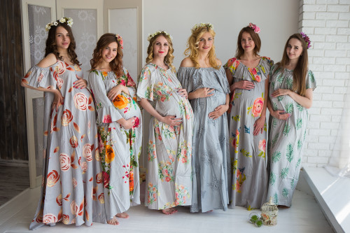 Mommies in Silver Floral Maxi Dresses