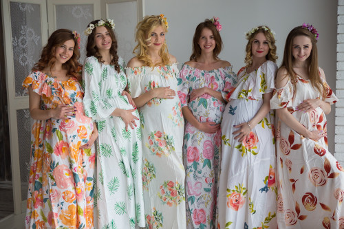 Mommies in White Floral Maxi Dresses
