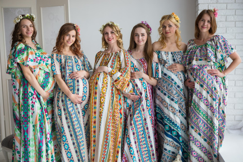 Mommies in Aztec Geometric Maxi Dresses
