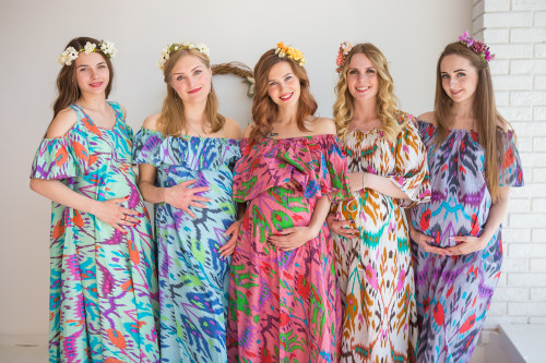 Mommies in Ikat Aztec Maxi Dresses