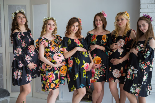 Mommies in Black Floral Shift Dresses