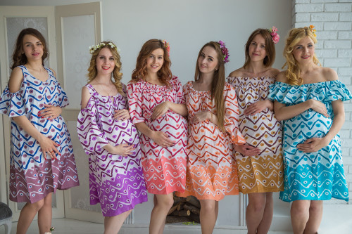 Mommies in Chevron Dots Shift Dresses