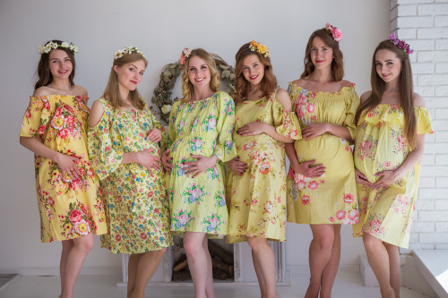 Mommies in Light Yellow Floral Shift Dresses