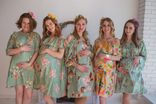 Mommies in Sage Floral Shift Dresses