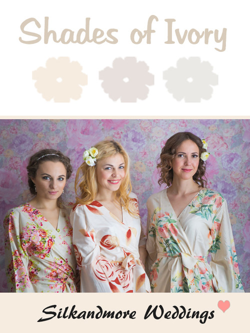 Shades of Ivory Wedding Color Robes - Premium Rayon Collection