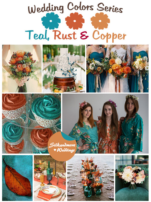 Teal, Rust and Copper Wedding Color Palette