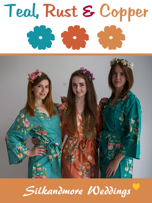 Teal, Rust and Copper Wedding Color Robes - Premium Rayon Collection