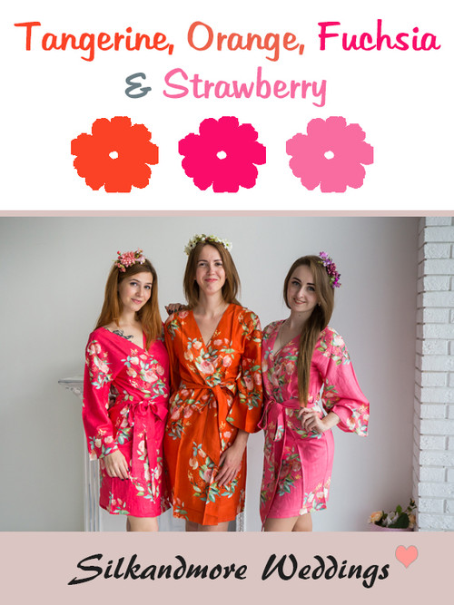 Tangerine, Orange, Fuchsia and Strawberry Wedding Color Robes - Premium Rayon Collection