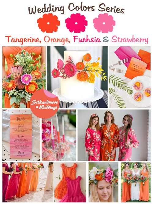 Tangerine, Orange, Fuchsia and Strawberry Wedding Color Palette