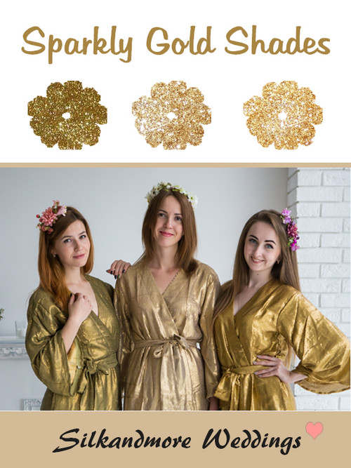 Sparkly Gold Shades Wedding Color Robes - Premium Rayon Collection