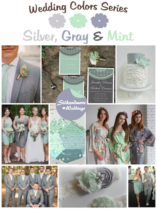 Silver, Gray and Mint Wedding Color Palette