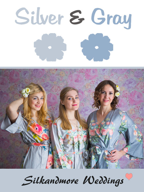 Silver and Gray Wedding Color Robes - Premium Rayon Collection