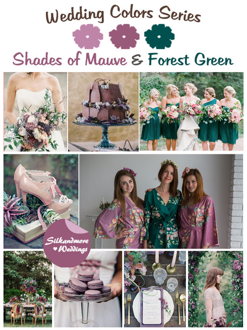 Shades of Mauve and Forest Green Wedding Color Palette