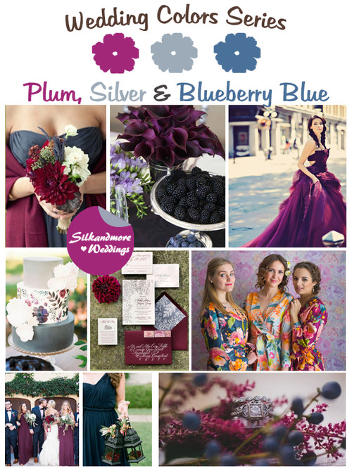 Plum, Silver and Blueberry Blue Wedding Color Palette