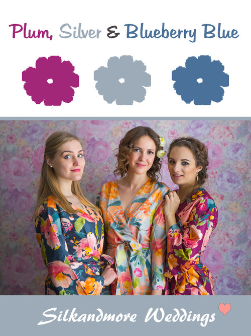 Plum, Silver and Blueberry Blue Color Robes - Premium Rayon Collection