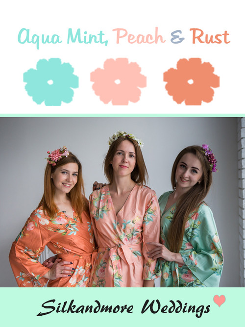 Aqua Mint, Peach and Rust Color Robes - Premium Rayon Collection