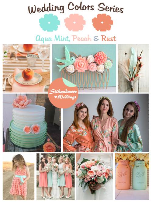 Aqua Mint, Peach and Rust Wedding Color Palette