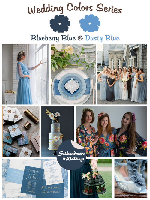 Blueberry Blue and Dusty Blue Wedding Color Palette