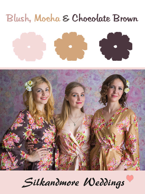 Blush, Mocha and Chocolate Brown Color Robes - Premium Rayon Collection