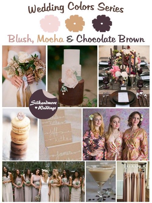 Blush, Mocha and Chocolate Brown Wedding Color Palette