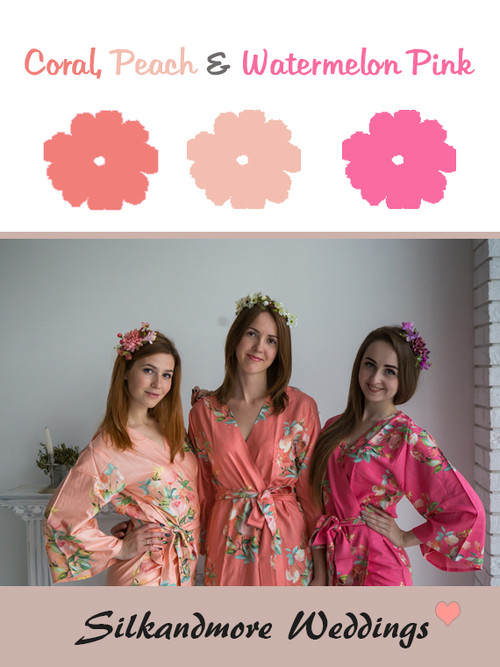 Coral, Peach and Watermelon Pink Color Robes - Premium Rayon Collection