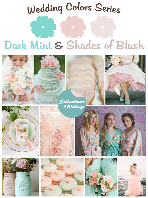 Dark Mint and Shades of Blush Wedding Color Palette