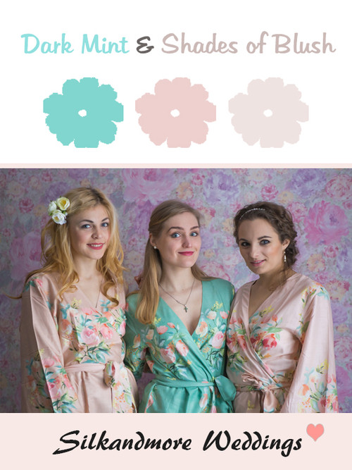 Dark Mint and Shades of Blush Color Robes - Premium Rayon Collection