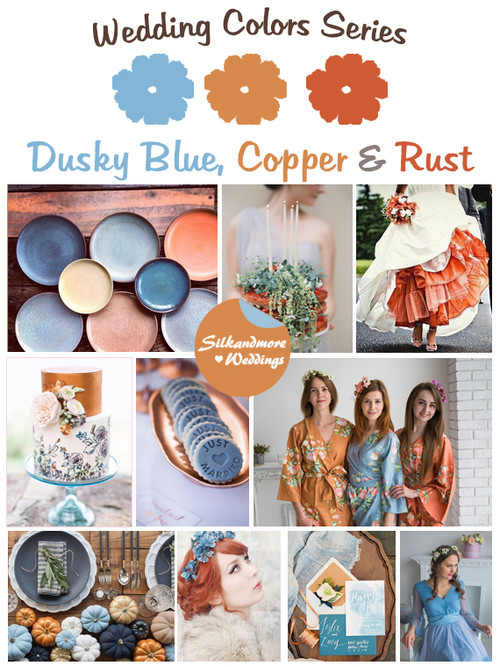 Dusky Blue, Copper and Rust Wedding Color Palette