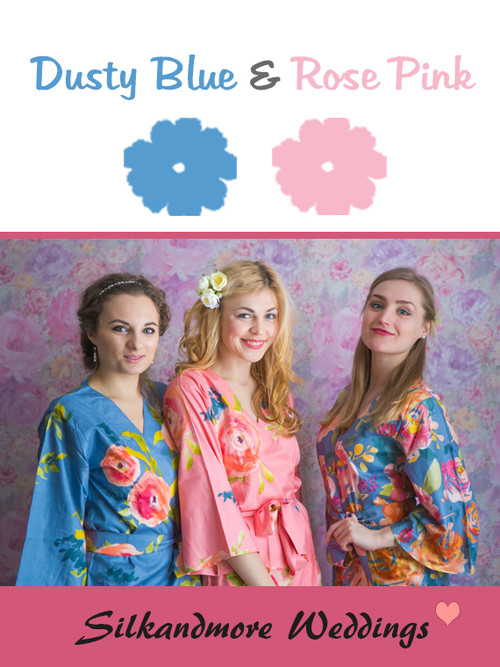 Dusty Blue and Rose Pink Color Robes - Premium Rayon Collection