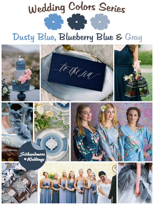 Dusty Blue, Blueberry Blue and Gray Wedding Color Palette