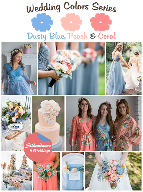 Dusty Blue, Peach and Coral Wedding Color Palette