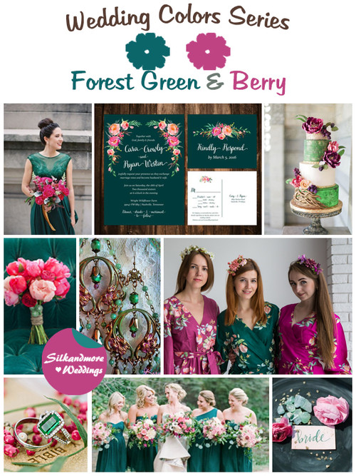Forest Green and Berry Wedding Color Palette