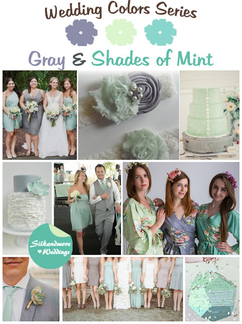 Gray and Shades of Mint Wedding Color Palette