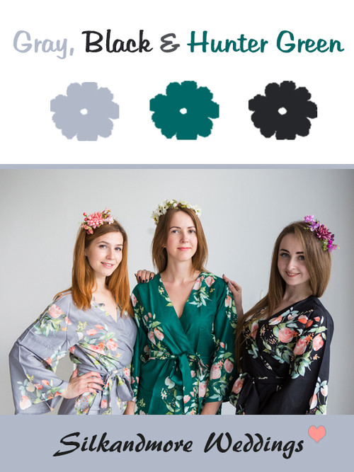 Gray, Black and Hunter Green Color Robes - Premium Rayon Collection