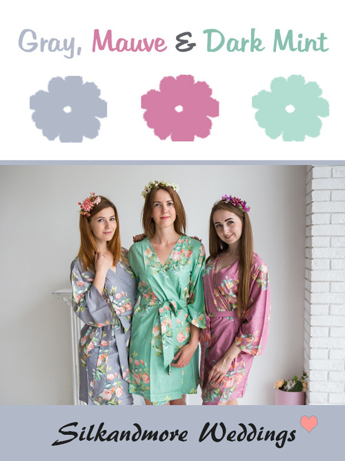 Gray, Mauve and Dark Mint Color Robes - Premium Rayon Collection