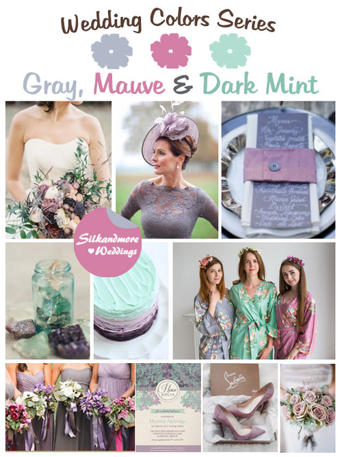 Gray, Mauve and Dark Mint Wedding Color Palette