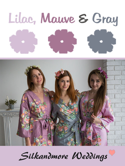 Lilac, Mauve and Gray Color Robes - Premium Rayon Collection