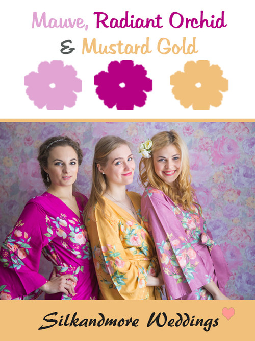 Mauve, Radiant Orchid and Mustard Gold Color Robes - Premium Rayon Collection