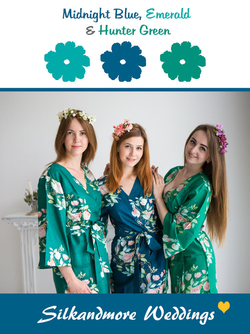 Midnight Blue, Emerald and Hunter Green Color Robes - Premium Rayon Collection