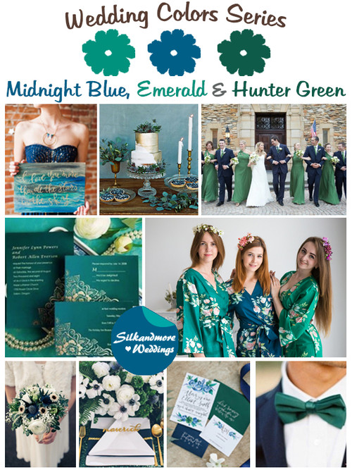 Midnight Blue, Emerald and Hunter Green Wedding Color Palette