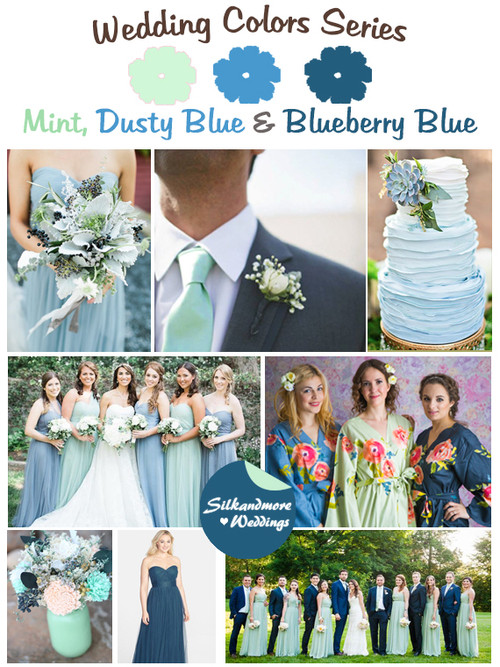 Mint, Dusty Blue and Blueberry Blue Wedding Color Palette