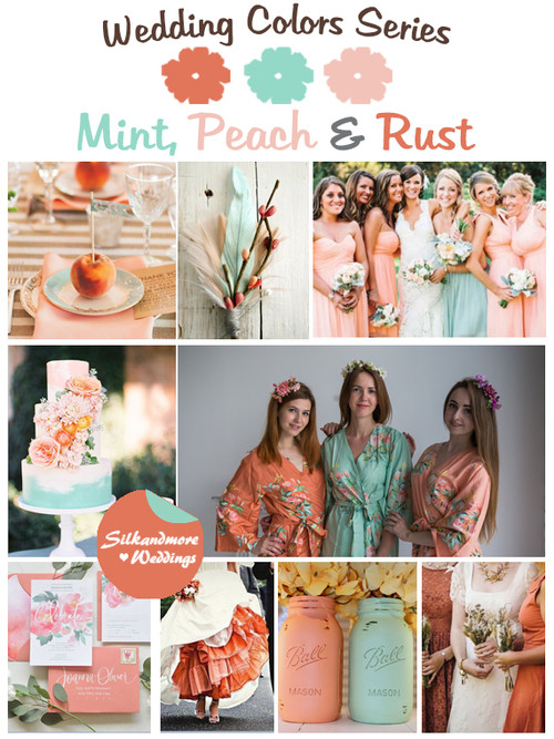 Mint, Peach and Rust Wedding Color Palette
